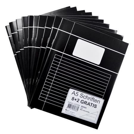 Schriften A5 lijn zwart, per 10 verpakt