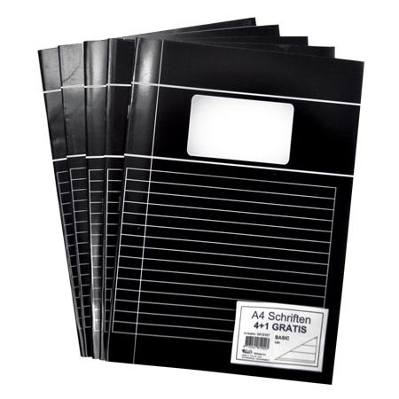 Schriften A4 lijn met kantlijn zwart 5 stuks