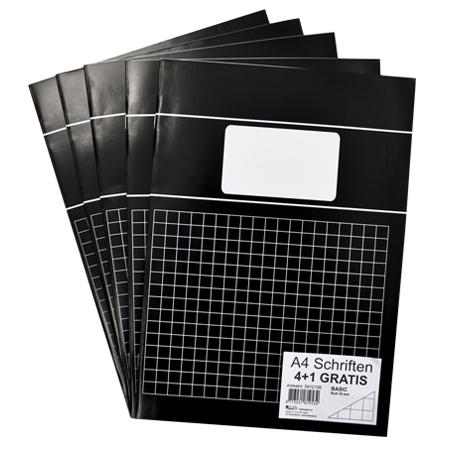 Schriften A4 ruit 10mm met kantlijn zwart 5 stuks