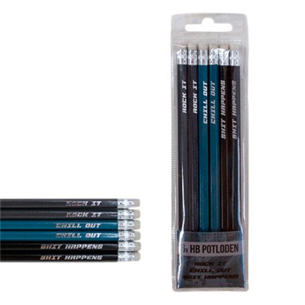 Potloden met gum stoere kleuren
