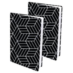 Rekbare boekenkaft zwart/wit