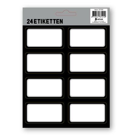Etiketten zwart 24 stuks