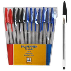 Balpennen 12 stuks (rood/zwart/blauw)