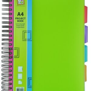 Collegeblok A4 lijn met 4 tabbladen