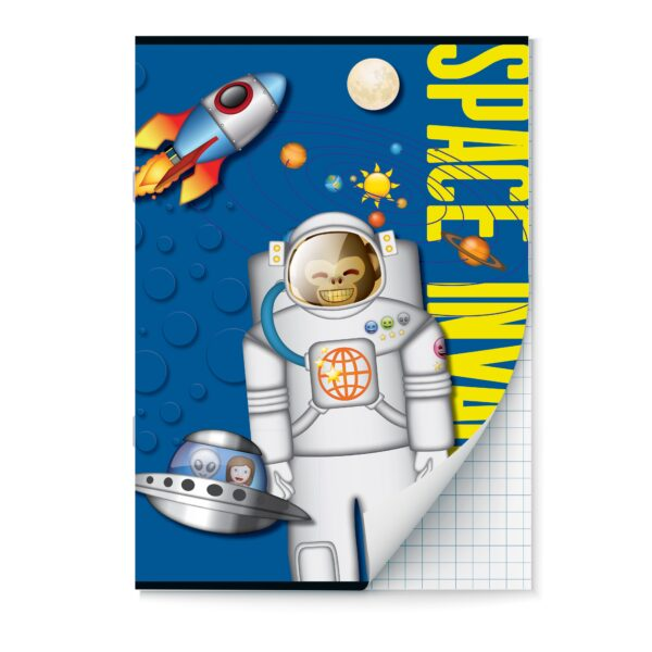 Schrift A4 ruit Emoji Space Monkey set van 2
