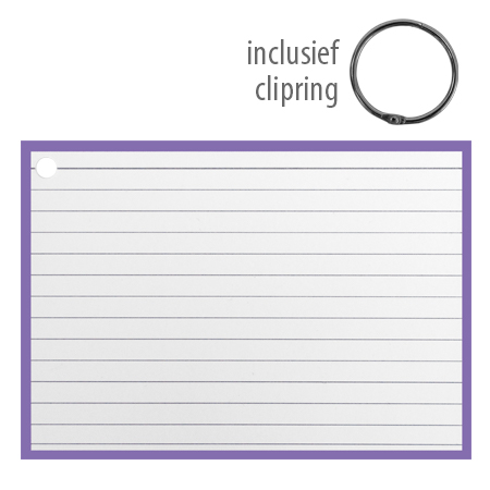 Flashcards A6 incl. clipring Paars