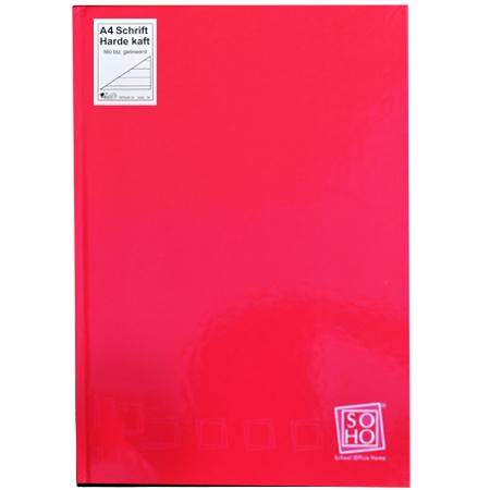 Schrift harde kaft A4 met lijn rood