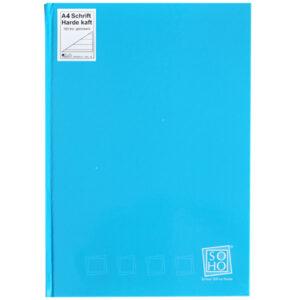 Schrift harde kaft A4 met lijn turquoise