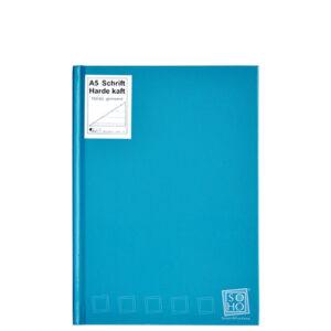 Schrift harde kaft A5 met lijn turquoise
